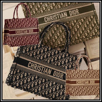 Christian Dior Unisex Canvas A4 Elegant Style Totes