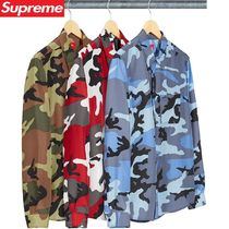 Supreme Camouflage Unisex Silk Street Style Long Sleeves Shirts