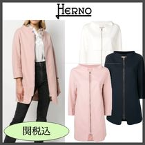 HERNO Stand Collar Coats Plain Medium Elegant Style Coats