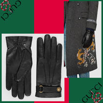 GUCCI Plain Leather Handmade Leather & Faux Leather Gloves