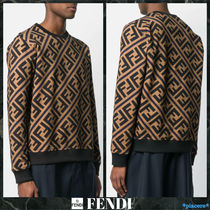 FENDI FOREVER Monogram Street Style Long Sleeves Cotton Sweatshirts