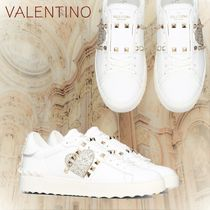VALENTINO Heart Rubber Sole Casual Style Studded Plain Leather