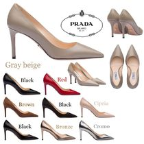 PRADA Plain Leather Pin Heels Elegant Style