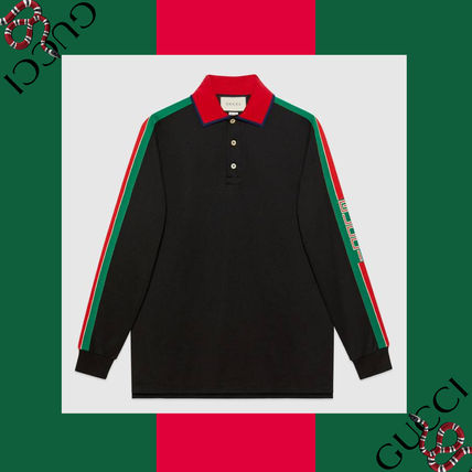 f1b0ccc8 ... GUCCI Polos Pullovers Stripes Long Sleeves Cotton Handmade Polos ...