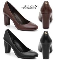 Ralph Lauren Round Toe Plain Leather Block Heels Block Heel Pumps & Mules