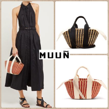 Stripes Canvas 2WAY Handmade Straw Bags