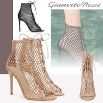 Gianvito Rossi Open Toe Lace-up Leather Pin Heels Elegant Style