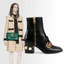 83050cae74d GUCCI Square Toe Leather Block Heels Elegant Style Mid Heel Boots