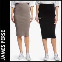 JAMES PERSE Pencil Skirts Casual Style Plain Cotton Medium Midi Skirts