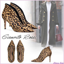 Gianvito Rossi Leopard Patterns Leather Pin Heels Elegant Style