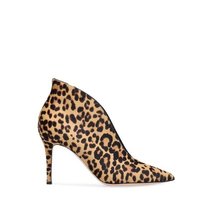 Leopard Patterns Leather Pin Heels Elegant Style