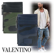 VALENTINO Camouflage Street Style Leather Coin Cases