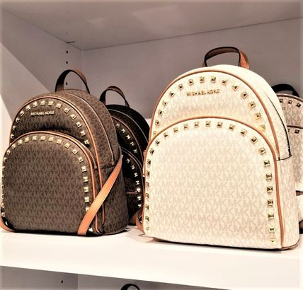 Casual Style Studded Plain Leather Dark Brown Backpacks