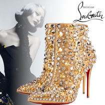 Christian Louboutin Blended Fabrics Studded Pin Heels With Jewels