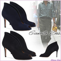 Gianvito Rossi Open Toe Suede Plain Pin Heels Elegant Style