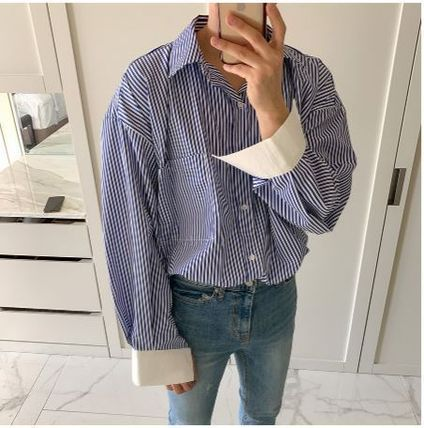 ASCLO Shirts Stripes Oversized Shirts 4