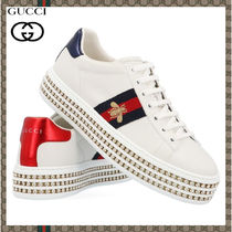 GUCCI Ace Rubber Sole Leather Low-Top Sneakers