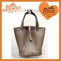 HERMES Picotin Plain Leather Totes