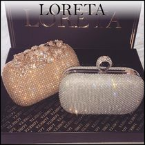LORETA Plain Party Style With Jewels Clutches