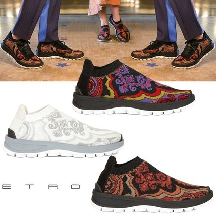 Paisley Plain Toe Casual Style Low-Top Sneakers