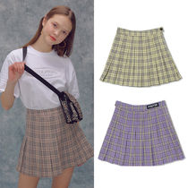 SCULPTOR Short Tartan Pleated Skirts Street Style Skirts