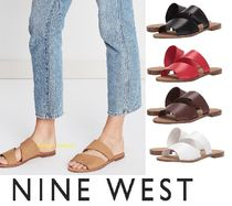 Nine West Open Toe Casual Style Plain Leather Pin Heels Slippers