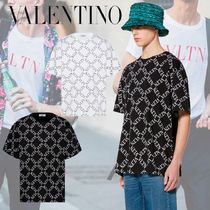 VALENTINO VLTN Crew Neck Pullovers Street Style Cotton Short Sleeves