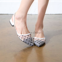 Dots Square Toe Casual Style Pumps & Mules