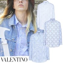 VALENTINO Button-down Stripes Long Sleeves Cotton Oversized Shirts