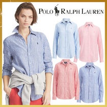 Ralph Lauren Stripes Casual Style Linen Long Sleeves Medium