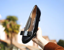 Salvatore Ferragamo Enamel Plain Block Heels Office Style