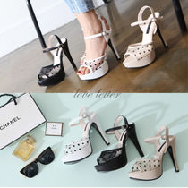 Dots Open Toe Casual Style Pin Heels Shoes