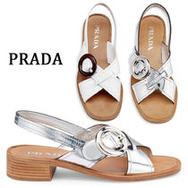PRADA Open Toe Casual Style Plain Leather Block Heels Sandals