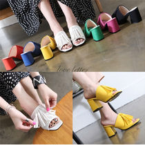 Open Toe Casual Style Suede Plain Chunky Heels Shoes