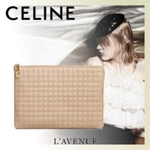 CELINE Calfskin Street Style Plain Khaki Pouches & Cosmetic Bags