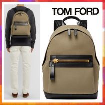 TOM FORD Unisex Canvas Street Style Bag in Bag Plain Khaki Backpacks