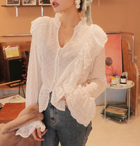 Dots Casual Style Peplum Plain Medium Lace Puff Sleeves