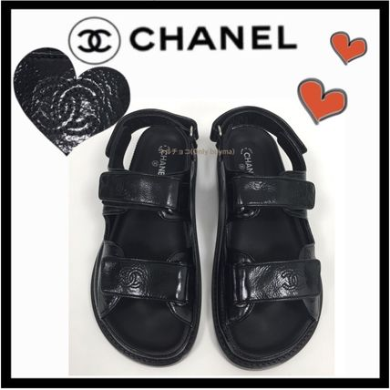 2f86f0ce8727 ... CHANEL Flat Platform Casual Style Unisex Plain Leather Footbed Sandals  ...