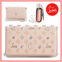 Christian Louboutin Paloma Studded Plain Leather Shoulder Bags