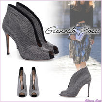 Gianvito Rossi Dots Open Toe Suede Blended Fabrics Studded Bi-color