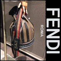FENDI MON TRESOR Stripes Street Style A4 2WAY Leather