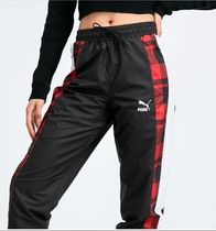 PUMA Gingham Casual Style Street Style Long Logo Bottoms