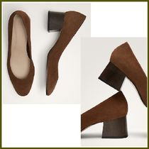 Massimo Dutti Round Toe Suede Plain Office Style Chunky Heels
