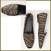 Massimo Dutti Round Toe Casual Style Fur Other Animal Patterns Block Heels