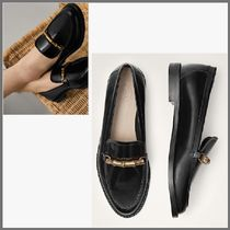 Massimo Dutti Casual Style Plain Leather Block Heels Loafer Pumps & Mules