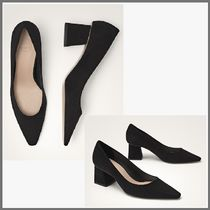 Massimo Dutti Suede Plain Office Style Chunky Heels Pumps & Mules