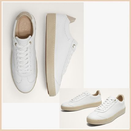 Round Toe Casual Style Plain Leather Low-Top Sneakers