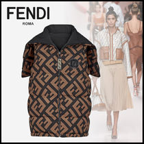 FENDI Short Monogram Casual Style Wool Oversized Cropped