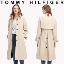 Tommy Hilfiger Unisex Street Style Plain Long Office Style Trench Coats