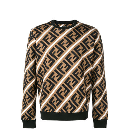 FENDI Sweatshirts Crew Neck Pullovers Monogram Sweat Street Style Sweatshirts 2
